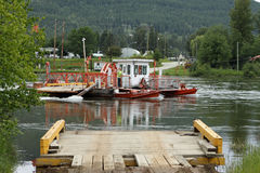 Ferry across the North Thompson River Stock Photos