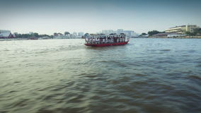 Ferry across the river stock footage