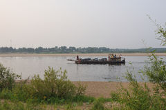 Ferry across the river Vychegda Stock Photo