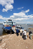 Ferry across Volga river Royalty Free Stock Photos