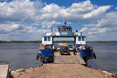 Ferry across Volga river Stock Images