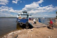 Ferry across Volga river in summertime Stock Image