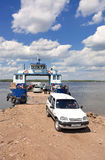Ferry across Volga river in summertime Royalty Free Stock Photo