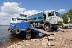 Ferry across Volga river in summertime Stock Photo