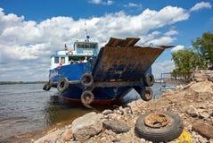 Ferry across Volga river in summertime Stock Photography