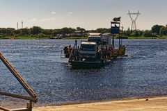 Ferry across the Zambezi river royalty free stock photos