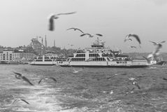Ferry on agitated sea Royalty Free Stock Photos