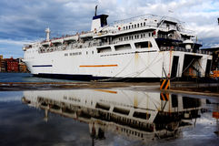 Ferry anchored in in port Stock Photography
