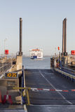 Ferry approaching dock Stock Photography