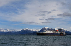 Ferry approaching Homer, Alaska Stock Photography