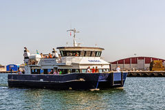Ferry approaching the Port of Kalmar Royalty Free Stock Photography