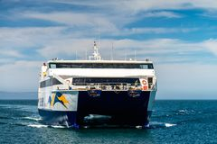 Ferry arrivant au cap Jervis SeaLink Terminal photos stock