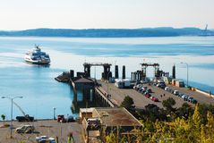Ferry Arrives at the Dock royalty free stock photo