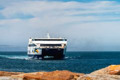 Ferry arriving at Cape Jervis SeaLink Terminal