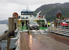 Ferry arriving in Forsand, Norway Royalty Free Stock Photos