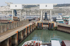 Ferry is arriving in the port of Dover stock images