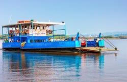 Ferry arriving to Chorao island Salim Ali Bird Sanctuary, Goa, India Stock Image
