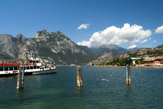 Ferry arriving at  Torbole on Lake Garda Italy Royalty Free Stock Photos