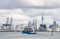 Ferry and auckland city landscape, NZ. Fullers ferry with landscape of Auckland city, New Zealand Royalty Free Stock Images