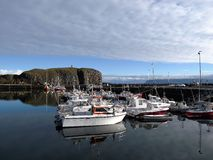 Ferry Baldur nel lmur del ³ di StykkishÃ, Islanda Fotografie Stock Libere da Diritti