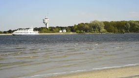 Ferry at the Baltic sea. Świnoujście, Poland stock footage