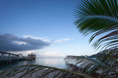 The ferry is at berth against the blue sky and palm trees. Royalty Free Stock Image