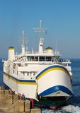 Ferry boat. A ferry boat departing from Malta to Gozo in Mediterranean Sea Stock Image