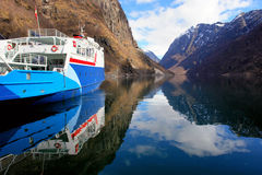 Ferry boat. Stoped in Noraway fjord Royalty Free Stock Images