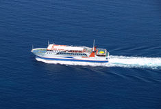 Ferry boat aerial. Aerial view of sea ferry boat royalty free stock photos