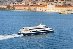 Ferry Boat Almeida Garrett Crosses The River Tagus Stock Photo