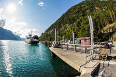 Ferry boat approaching, Norway. Ferry boat approaching in Norway Stock Photo