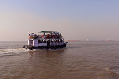 Ferry boat in Arabian Sea. Way to Elephanta Islands from Gateway of India, Mumbai Stock Image