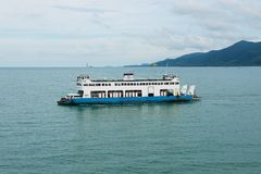 Ferry boat arrives to the island in Koh Chang, Thailand. Royalty Free Stock Image