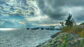 Ferry-boat au dock à Kingston images libres de droits