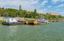 Ferry boat awaiting passenger to cross Danube river Stock Photo