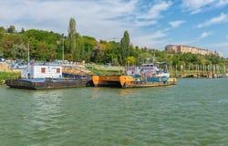 Ferry boat awaiting passenger to cross Danube river Stock Photo
