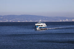 Ferry boat on bay heading towards viewer Stock Photography