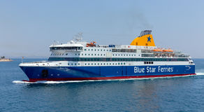 Ferry boat Blue Star Patmos Stock Image