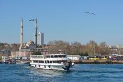 Ferry boat in Bosporus strait, Istanbul, Turkey Stock Photo