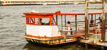Ferry boat at Chao Phraya River Royalty Free Stock Images