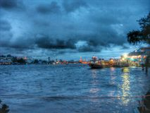Ferry boat in Chaophaya River. By night Stock Images