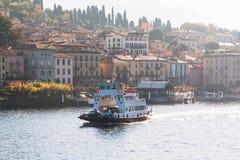 Ferry boat on Como Lake near the town Bellagio. Como Lake, Italy.  Stock Image