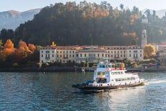 Ferry boat on Como Lake near the town Bellagio. Como Lake, Italy.  Royalty Free Stock Photos