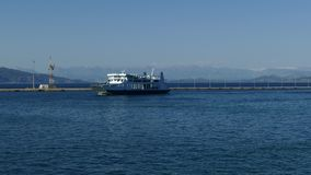 Ferry boat in Corfu sea port, Kerkyra, Greece. Corfu to Igoumenitsa traveling.  stock video