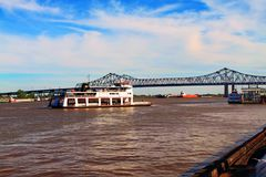 Ferry boat Crossing the Mississippi River New Orleans royalty free stock images