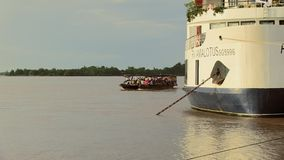 Ferry boat , cruise  , mekong, cambodia, southeast asia stock video footage