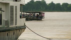 Ferry boat , cruise  , mekong, cambodia, southeast stock footage