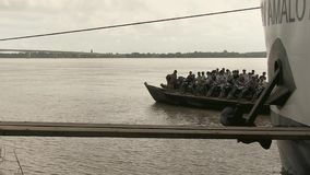 Ferry boat , cruise  , mekong, cambodia, southeast stock video