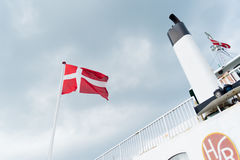 Ferry boat with danish flag Stock Photos