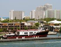 Ferry boat docked Stock Photo